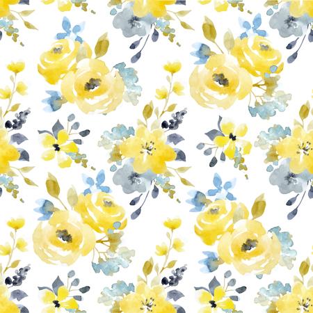 Illustration pour Watercolor floral vector seamless pattern - image libre de droit