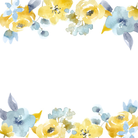 Illustration pour Watercolor floral vector frame - image libre de droit