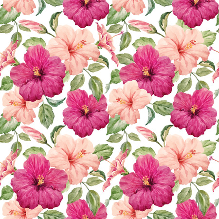 Illustration for Seamless tropical vector pattern with watercolor hibiscus flowers - Royalty Free Image