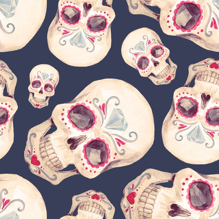 Illustration for Watercolor skull seamless vector pattern - Royalty Free Image