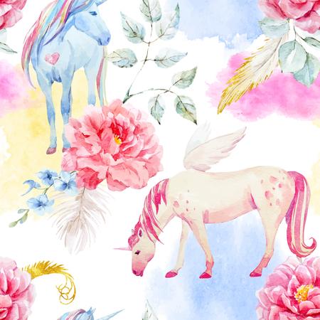 Ilustración de Watercolor vector unicorn and pegasus pattern - Imagen libre de derechos