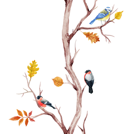 Illustration for Fall trees and birds vector pattern - Royalty Free Image