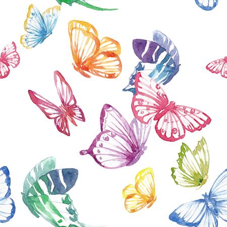 Ilustración de Beautiful seamless vector pattern with nice watercolor butterflies - Imagen libre de derechos