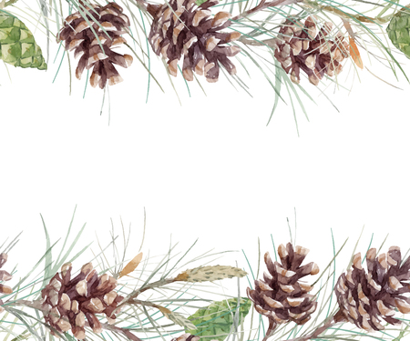 Illustration pour Watercolor fir cone. - image libre de droit