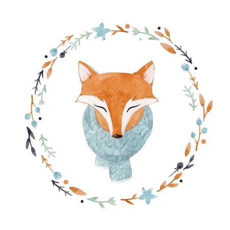Illustration pour Watercolor fox vector portrait - image libre de droit