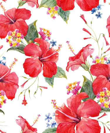Illustration for Watercolor tropical floral vector pattern - Royalty Free Image