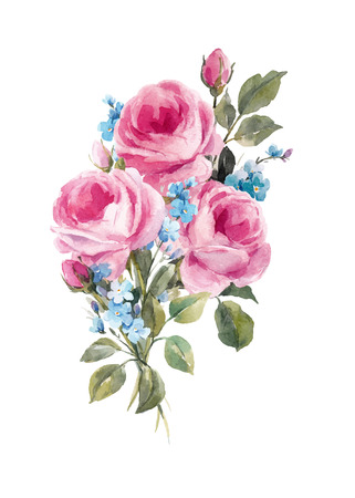 Illustration pour Watercolor floral vector composition - image libre de droit