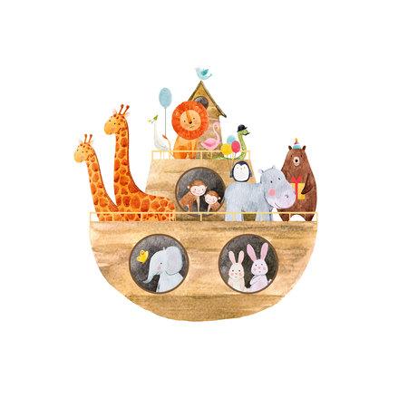 Illustration pour Watercolor baby Noah Ark - image libre de droit