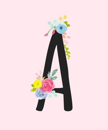 Illustration pour Watercolor vector capital letter A with flowers. - image libre de droit