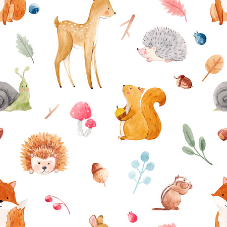 Illustration pour Beautiful vector seamless watercolor baby pattern with nice animals - image libre de droit