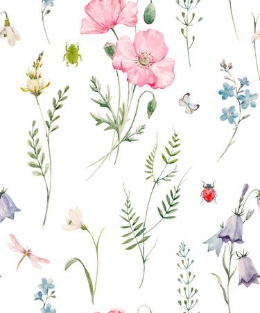Ilustración de Beautiful seamless vector pattern with hand drawn watercolor poppy flowers - Imagen libre de derechos