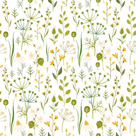Ilustración de Beautiful borderless pattern with hand drawn watercolor flowers. - Imagen libre de derechos