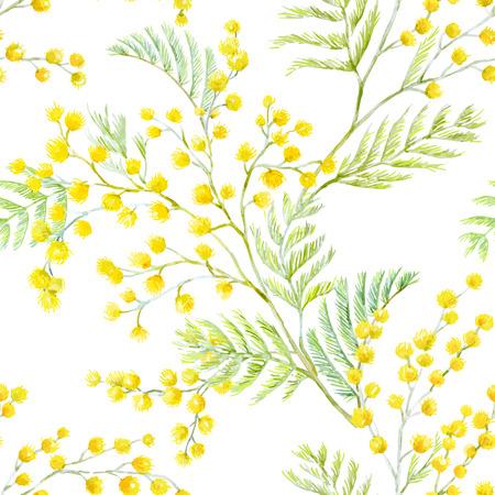 Ilustración de Beautiful seamless vector pattern with hand drawn watercolor mimosa flowers - Imagen libre de derechos