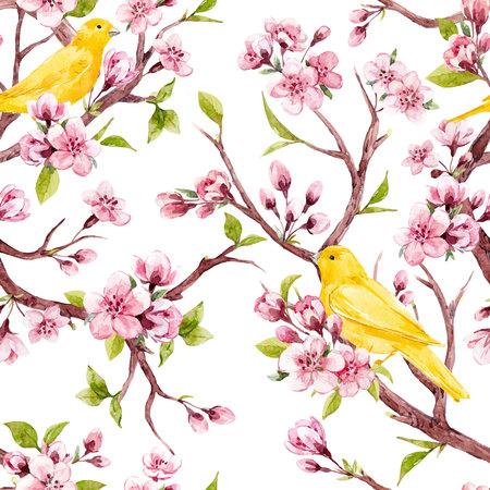 Ilustración de Beautiful vector seamless pattern with watercolor sakura flowers with birds - Imagen libre de derechos