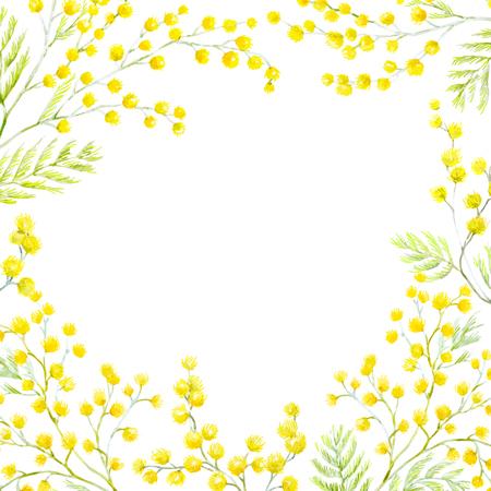 Ilustración de Watercolor mimosa frame - Imagen libre de derechos