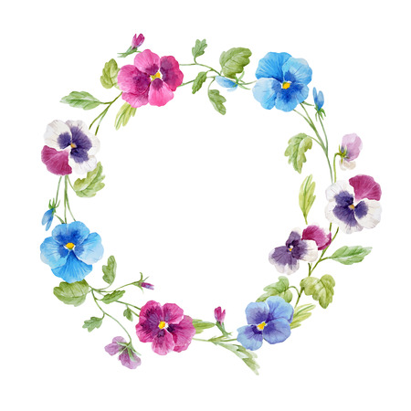 Ilustración de Beautiful vector wreath with hand drawn watercolor pansy flowers on transparent background - Imagen libre de derechos