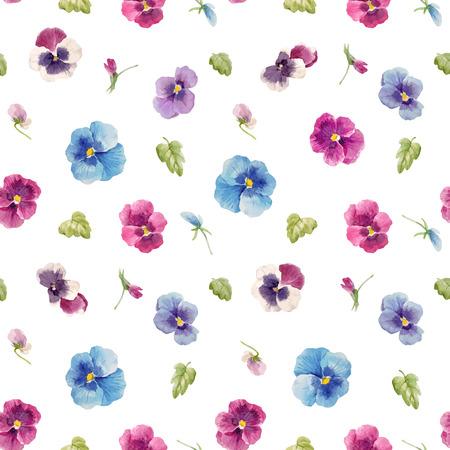 Photo pour Watercolor pansy flower seamless  vector pattern illustration. - image libre de droit