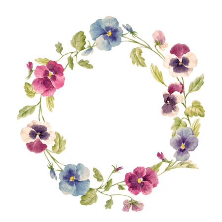 Illustration pour Watercolor pansy flower vector wreath - image libre de droit