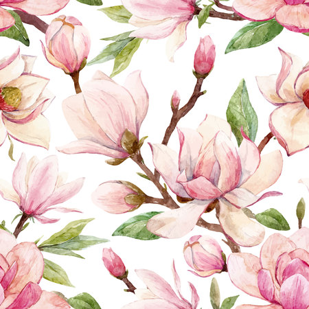 Illustration for Beautiful vector seamless pattern with watercolor magnolia flowers - Royalty Free Image