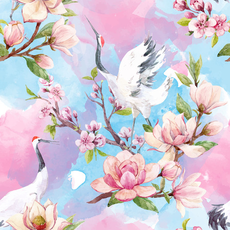 Illustration pour Beautiful vector seamless pattern with watercolor magnolia flowers and cranes - image libre de droit