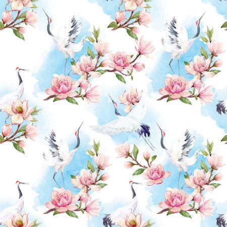 Ilustración de Watercolor crane vector pattern - Imagen libre de derechos