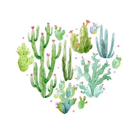 Illustrazione per Watercolor cactus heart vector composition - Immagini Royalty Free
