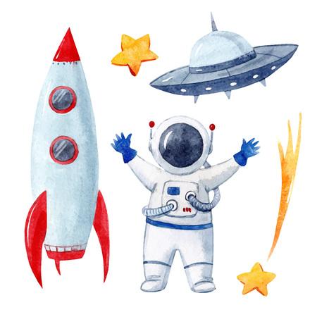 Illustration pour Watercolor baby space vector set - image libre de droit