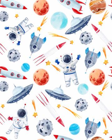 Illustration pour Watercolor space baby vector pattern - image libre de droit