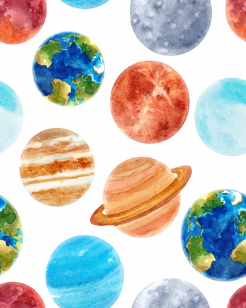 Illustration pour Watercolor space baby vector pattern - image libre de droit