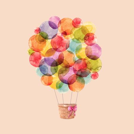 Illustrazione per Watercolor rainbow vector air balloons - Immagini Royalty Free