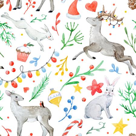 Ilustración de Watercolor christmas vector pattern - Imagen libre de derechos