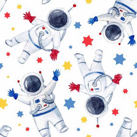 Illustrazione per Watercolor astronaut pattern with stars. - Immagini Royalty Free