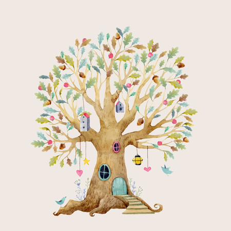 Ilustración de Beautiful vector illustration with forest tree house for babies - Imagen libre de derechos