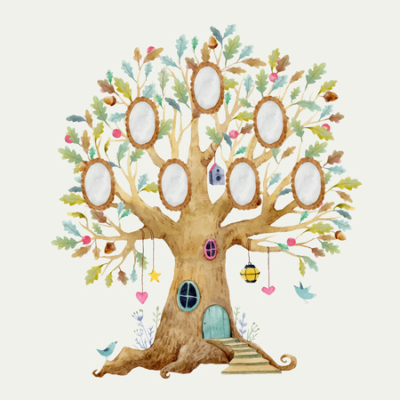 Illustration for Beautiful vector illustration with forest tree house for babies with frames for family - Royalty Free Image