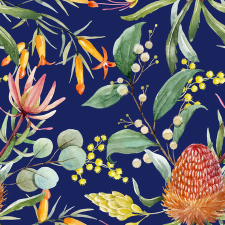 Illustration for Watercolor australian banksia vector pattern - Royalty Free Image