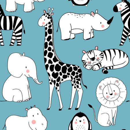 Illustration pour Safari animals vector pattern on blue background. - image libre de droit
