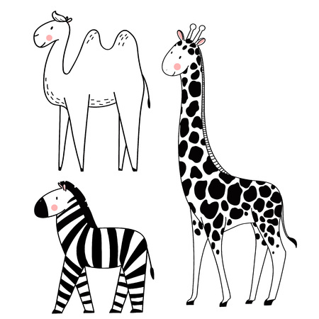 Illustration pour Beautiful vector set with safari animals camel giraffe zebra - image libre de droit