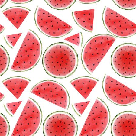 Illustration pour Watercolor watermelon seamless vector pattern - image libre de droit