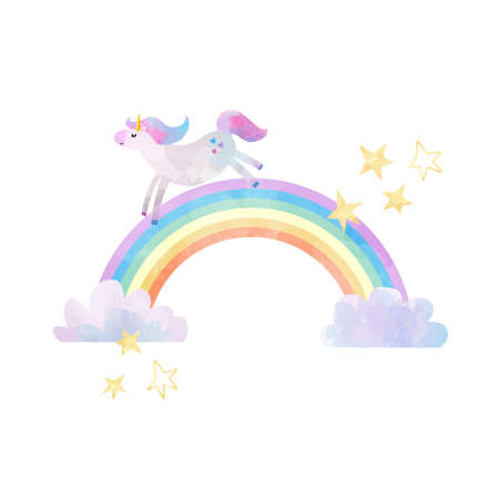 Ilustración de Beautiful vector illustration with unicorns and rainbows - Imagen libre de derechos
