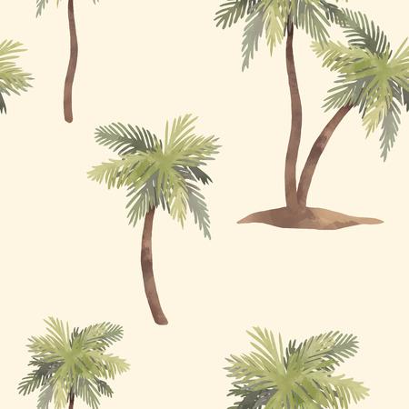 Ilustración de Beautiful vector seamless pattern with hand drawn watercolor tropical palms - Imagen libre de derechos