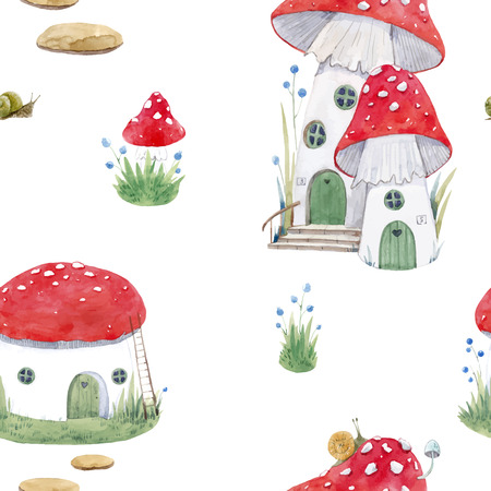 Illustrazione per Beautiful vector seamless pattern with mushroom houses for babies - Immagini Royalty Free