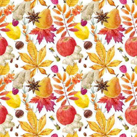 Photo for Watercolor autumn floral vector pattern - Royalty Free Image