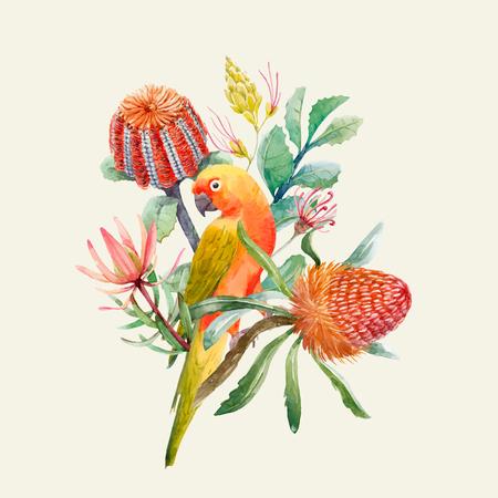 Ilustración de Beautiful vector tropical composition with watercolor parrots and flowers - Imagen libre de derechos