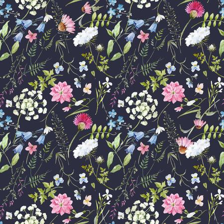 Ilustración de Beautiful vector seamless pattern with hand drawn watercolor flowers - Imagen libre de derechos