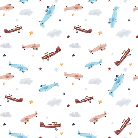 Illustration pour Beautiful baby seamless pattern with watercolor air baloon plane airship - image libre de droit