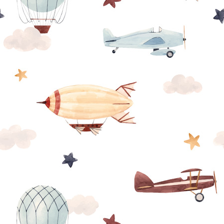 Illustration pour Watercolor aircraft baby pattern - image libre de droit