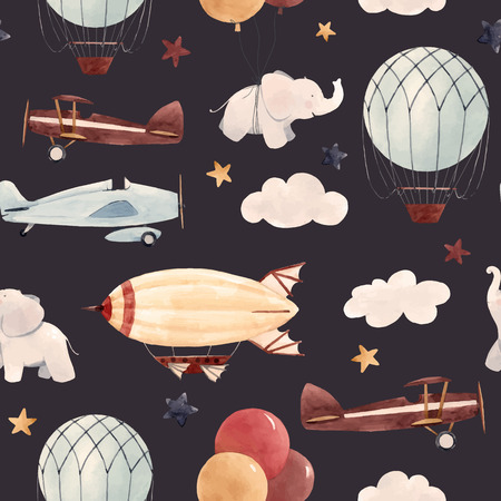 Illustration for Watercolor aircraft baby pattern - Royalty Free Image