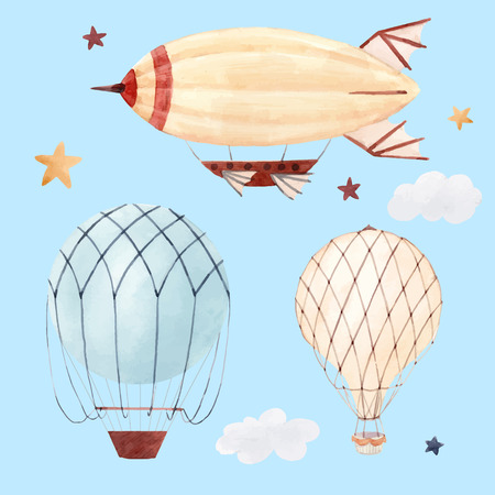 Illustration pour Beautiful illustration with watercolor air baloon and airship for babies - image libre de droit