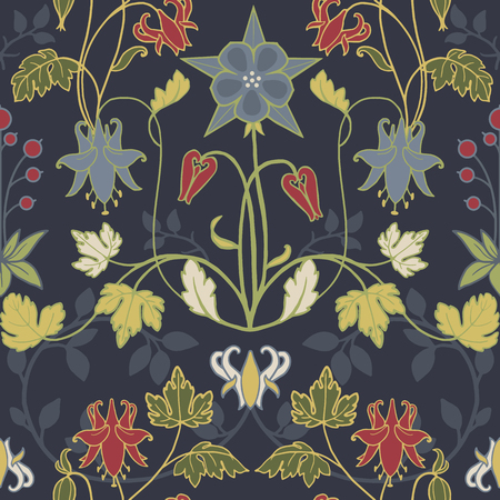 Ilustración de Beautiful pattern with flowers in modern art nouveau  retro vintage style - Imagen libre de derechos