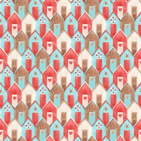 Ilustración de Beautiful vector seamless pattern with hand drawn watercolor houses - Imagen libre de derechos